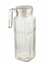 1 Litre Square Glass Jug With Lid Pitcher Juice Water Pouring Glassware Drinks