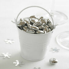 5 WHITE PLAIN TIN FAVOUR PAILS Buckets Sugared Almonds Sweets T Lights Chocs