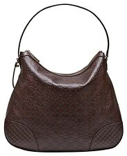NWT Gucci Bree Guccissima Leather Hobo Shoulder Bag, Chocolate