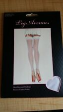 white  sheer backseam LEG AVENUE stockings need garter thigh highs OS