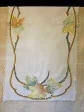 """Arts & Crafts Table  Runner 23 x 48"""" Embroidery Leaves on Woven Cloth"""