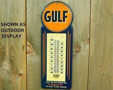 LARGE GULF METAL THERMOMETER VINTAGE STYLE OIL GAS MAN CAVE GARAGE SHOP DEALER
