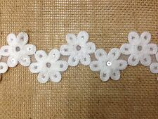 SEQUIN FLOWER TRIM TEX EX 1092 TRIM RIBBON TAPE DRESSMAKING CRAFT IVORY DAISY