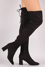 Womens Rear Drawstring Tie Lace Up Over The Knee Boot Chunky Block Mid High Heel