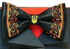 Ukrainian Bow Tie Butterfly Embroidered Vyshyvanka Black Color Tryzub Trident