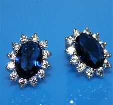 Sapphire Dark Blue Cubic Zirconia Oval Stud 18K White Gold Plated Earrings UK
