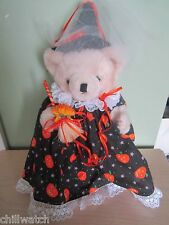 HALLOWEEN JOINTED TEDDY BEAR 10 INCH TALL IN HOMEMADE HALLOWEEN DRESS HAT