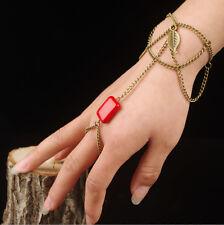 Fashion bracelet esclave anneau doigt main harnais bracelet chaîne lien turquoise perles
