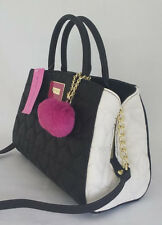 Betsey Johnson BOWLER SATCHEL Black/Cream Quilted HEARTS BM19350 Fuchsia POM POM