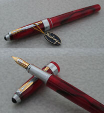 Rare & Beautiful HUAHONG Red Celluloid Fountain Pen, 22K Gold Plated Nib MINT
