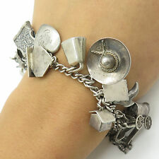 Vintage Sterling Silver Assorted Multiple Dangling Women's Charm Bracelet
