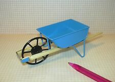 Miniature Blue Metal Wheelbarrow w/Wooden Handles: DOLLHOUSE Gradening 1/12