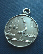 Early Sterling Silver Gymnastics Fob Medal h/m 1932 Birmingham - Parallel Bars