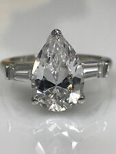 Pear Shape with Tulip Head  Engagement  Ring 4.00 ctw. 14K White Gold #4654