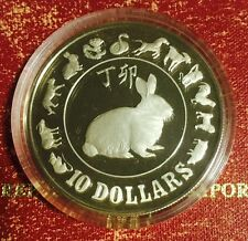 1987 1st Series Zodiac Silver Proof Coin Yr Of The Rabbit, Box Of Issue W/COA.