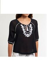 New Superdry women's  Folk blouse/fashion top black/holidays