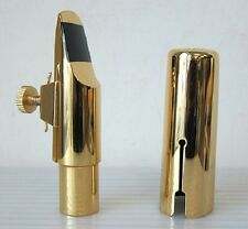 Gold Plated Alto Saxophone Mouthpiece +Ligature/Cap, #6