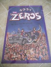 THE ZEROS 4321 BAND SIGNED VINTAGE 22X34 POSTER PUNK GLAM ROCK SAMMY SERIOUS