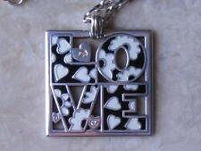 """Brighton Necklace.. """"Love Block"""" Enameled Black White w Crystals New w Tags"""