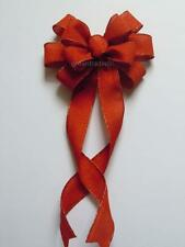 Rustic Burlap Burnt Orange Bow Fall Wedding Church Aisle Pew Bow Fall Wreath Bow