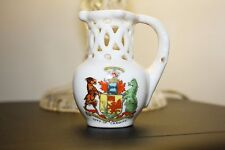 Unmarked Crested China Model of Puzzle Jug with City of Cardiff Crest 7 cm high
