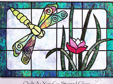 Dragonfly Pond - beautiful stained glass applique wall quilt PATTERN