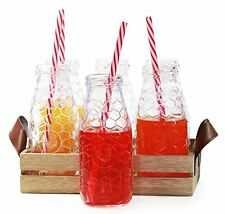 Circleware Country Rooster, Set of 13, Glass Milk Drink Bottles with Strong and