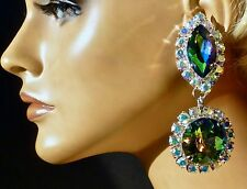 Color Changing Rainbow & AB Pendant Earrings Pageant DragQueen Stage Costume