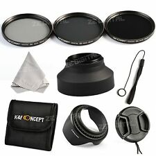 77mm Graufilter ND2 ND4 ND8 Lens Filter Set + Lens Petal Rubber Hood Cap Keeper