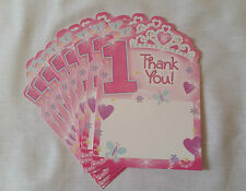 20 GIRLS 1st BIRTHDAY THANK YOU CARDS WITH ENVELOPES, PRINCESS DESIGN