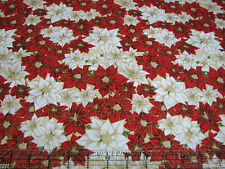 2.4 Yards Quilt Cotton Fabric- Hoffman Dashing All the Way Gilded Poinsettias