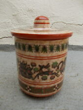 $ Vintage hand made by Neofitou Keramik Art clay lidded jar for jam or other