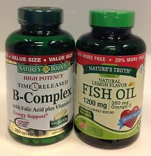 Nature's Bounty B Complex 350 tablets&NatureTruth FishOil 1200mg 120tab Exp11/17
