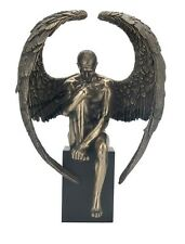 """10"""" Male Nude Angel Sitting On Plinth Statue Sculpture Erotic Naked Man w/ Wings"""