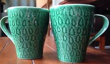 Pair Starbucks 2008 Green Christmas Tree Farm Coffee Mug Cup House Stockholm NEW