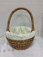 Pottery Barn Woven Easter Spring Basket Seagrass Braid Round Yellow Stripe Liner