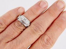 Art Deco 14K Three Stone SI1 H .30 Carat Diamond Ring Size 6