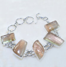 """Handmade Sparkling Dichroic Glass Pure 925 Sterling Silver Bracelet 8"""" #AA1350"""