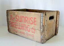 Vintage Sunrise Brewing Co Cleveland Ohio Wooden Crate Box w/ Metal Straps