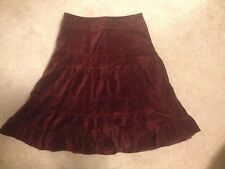 $148 NWT Anthropologie Odille Tiered Burgundy Wine Red Velvet Skirt 4 S