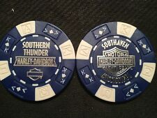 "Harley Poker Chip (Blue & White) ""Southern Thunder"" Southaven MS ORIGINAL DESIGN"