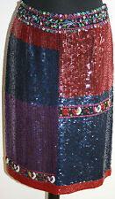 ORIGINAL ARMANI Skirt Beaded/Sequin Silk Evening Wear S/UK8/IT38 Blue-Red-Purple