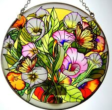 """AMIA STAINED GLASS SUNCATCHER CALLALILIES & MONARCH BUTTERFLIES 6.5"""" ROUND #5325"""
