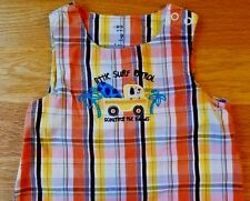 Carters Baby Boys-Sz 9 Months-Plaid-Dog-Truck-Summer Overalls 1 Pc Shorts Romper