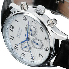 White Dial Date Day Black Leather Sport Men Automatic Mechanical 6 Hands Watch