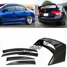 06-11 Honda Civic 4Dr Si Sedan Mugen Style Window Shield Visor + RR Spoiler Wing