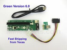 Green Version 6 PCIe Powered Riser USB 3.0 PCIe 1x to 16x Extender Card Adapter