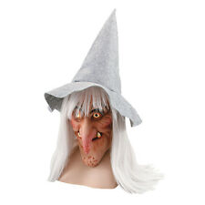 WICKED WITCH ADULT MASK + GREY HAT &HAIR FANCY DRESS HALLOWEEN COSTUME ACCESSORY