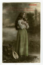 1910s Smiling Young Long Hair Haired PRETTY GYPSY w/ MANDOLIN photo postcard