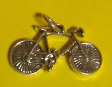 "3D Sterling Silver Polished 3/4"" Bike Bicycle Charm jump ring sports traditional"